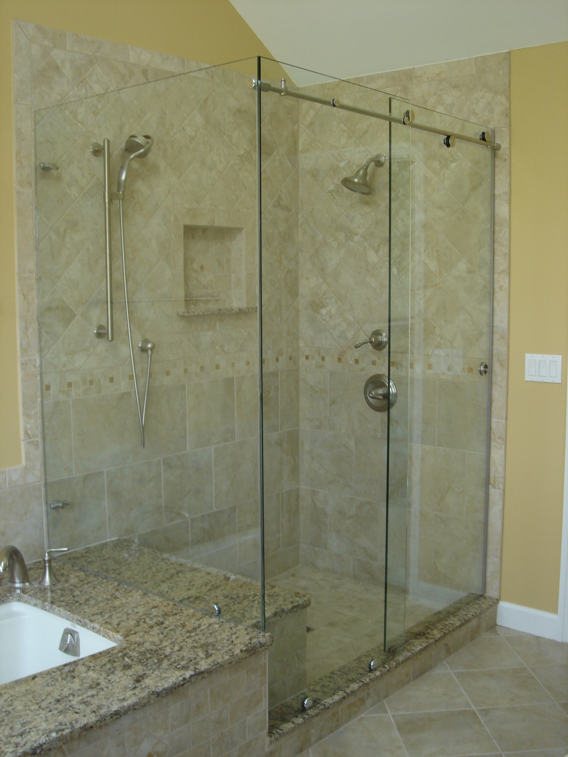 Bypass sliding shower doors modern glass designs for Modern glass designs