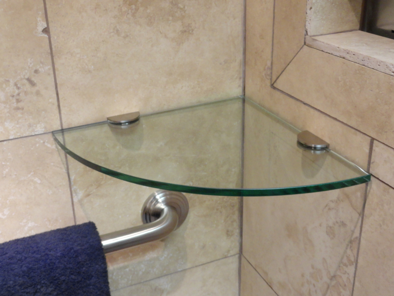 Table tops and shelves modern glass designs - Bathroom glass corner shelves shower ...